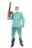 Doctor with saw. Bad doctor isolated on white background with diesel saw Royalty Free Stock Photos