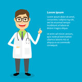 Doctor says. Doctor in white coat with raised hand and place for text, vector eps10 illustration Stock Photo
