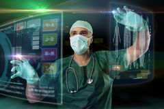 Doctor with screens Royalty Free Stock Photography