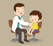 Doctor is seeing a small boy. Doctor listening to chest of patient with stethoscope.Mom and Boy to see Doctor sitting at the table in hospital, infirmary, clinic vector illustration