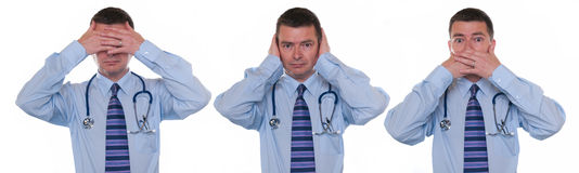 Doctor sees, hears, and speaks no evil Royalty Free Stock Photography