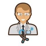 doctor senior glasses stethoscope and id card vector illustration