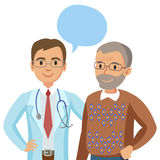 Doctor and senior patient. Man talking to physician. Vector. Illustration Royalty Free Stock Photo