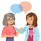 Doctor and senior patient. Woman talking to physician. Vector Stock Photo