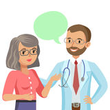 Doctor and senior patient. Woman talking to physician. Vector Royalty Free Stock Image