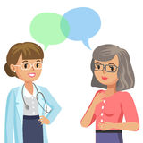 Doctor and senior patient. Woman talking to physician. Vector Stock Images
