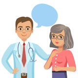 Doctor and senior patient. Woman talking to physician. Vector Royalty Free Stock Photos
