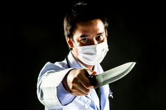 Doctor Serial Killer psychosis hold knife Royalty Free Stock Images