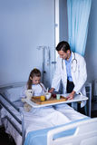 Doctor serving breakfast to girl. In hospital Royalty Free Stock Photography
