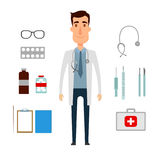 A doctor set of a man with medicine elements. Flat and cartoon style. Vector illustration on white background. Royalty Free Stock Image