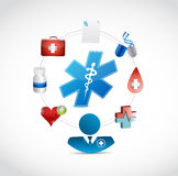 Doctor and a set of medical icons. isolated. Illustration design graphic Stock Photos