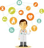 Doctor and set of medical icons Stock Image