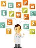 Doctor and set of medical icons Stock Photos