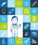 Doctor and set of medical icons Royalty Free Stock Photo