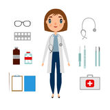 A doctor set of a woman with medicine elements. Royalty Free Stock Photo