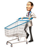 Doctor with a shopping cart Royalty Free Stock Photos