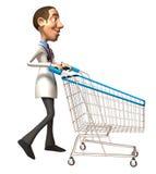 Doctor with a shopping cart Stock Photos