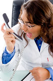 Doctor shouting on phone Stock Photos