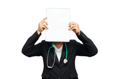 Doctor show document with stethoscope on white background. Royalty Free Stock Photos