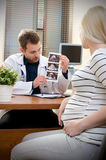 Doctor showing baby ultrasound image to pregnant woman. Showing ultrasound usg pregnancy gynecologist patient pregnant concept Royalty Free Stock Images