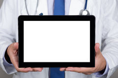Doctor showing blank digital tablet pc Stock Image