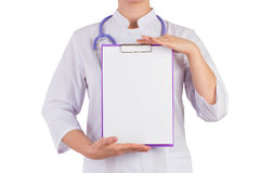 Doctor showing a blank sheet of paper to record Royalty Free Stock Images