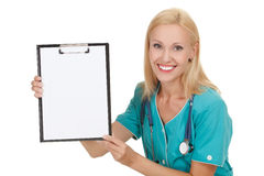 Doctor showing clipboard Stock Photo