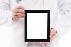 Doctor showing digital tablet pc with blank screen. Stock Images