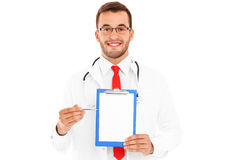 Doctor showing documents Royalty Free Stock Photography