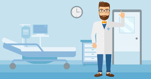 Doctor showing finger up. A happy doctor in medical gown showing finger up on the background of hospital ward vector flat design illustration. Horizontal layout Royalty Free Stock Photo