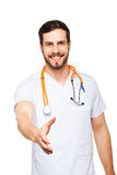 Doctor showing handshake sign with hand Stock Images