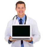 Doctor showing laptop screen Royalty Free Stock Photos