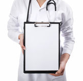 Doctor showing medical document notes Royalty Free Stock Image