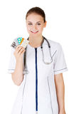 Doctor showing medical pills Royalty Free Stock Photography