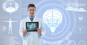 Doctor showing medical signs over futuristic background Royalty Free Stock Images