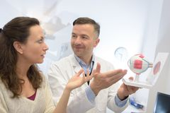 Free Doctor Showing Model Eye To Patient Royalty Free Stock Photo - 104148665
