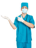Doctor showing open hand Stock Photos