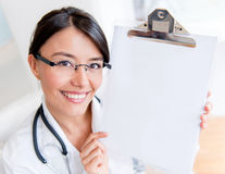 Doctor showing a prescription Royalty Free Stock Photography