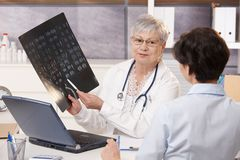 Doctor showing x-ray results to patient Royalty Free Stock Image