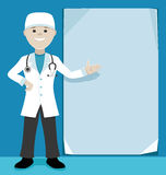 Doctor showing a sheet of paper. Royalty Free Stock Photos