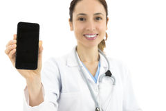 Doctor showing smart phone with copy space Stock Photos