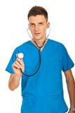 Doctor showing stethoscope stock photography