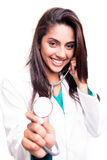 Doctor showing stethoscope Royalty Free Stock Images