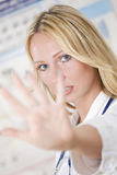 Doctor showing stop gesture Royalty Free Stock Image