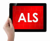 Doctor showing tablet with ALS text. Stock Photography