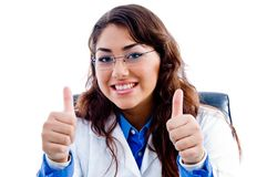 Doctor showing thumb up with both hands Stock Photos