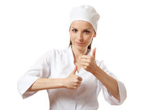 Doctor showing thumbs up gesture, isolated Royalty Free Stock Images