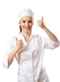 Doctor showing thumbs up gesture, isolated Royalty Free Stock Photography