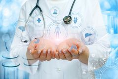 The doctor shows the structure of medical research royalty free stock photo
