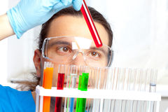 Doctor shows test tube Stock Photo